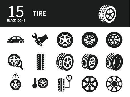 輪胎維護圖標集