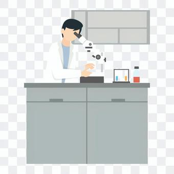 Scientist inspecting with a microscope