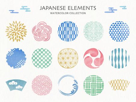 水彩風格日本圖案框架和圖標集