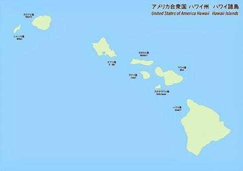 夏威夷群島地圖在美利堅合眾國,夏威夷