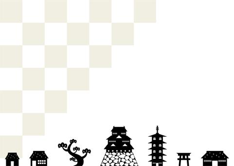 Castle town landscape checkered background