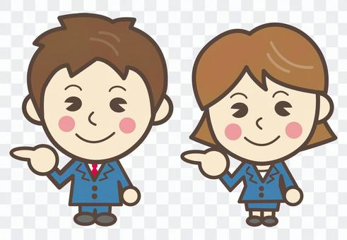 Male and female businessman [Left pointing finger posing]