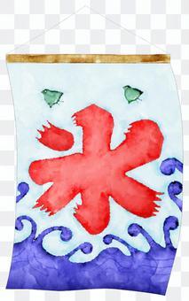 揺れるかき氷の旗の水彩画