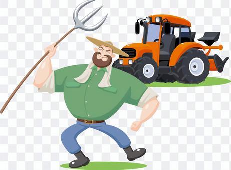 農夫とトラクター 農家 生産者