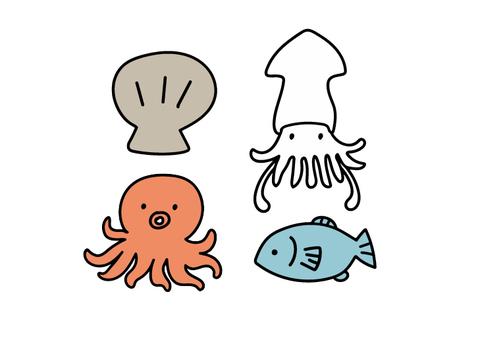 海洋生物 貝類 魷魚 章魚