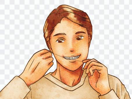 男子使用枕形牙線