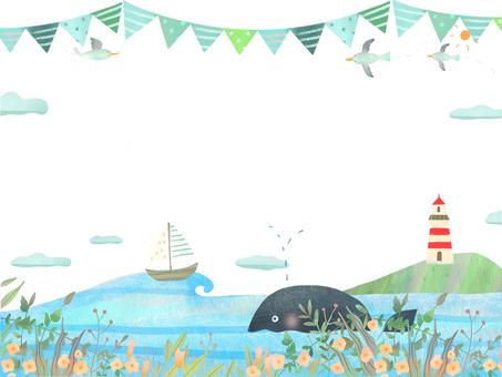 斯堪的納維亞的鯨魚和海鷗與大海的框架