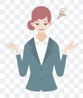 Woman posing woman (in suit shape)