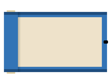 Flat Japanese-style roll frame: blue