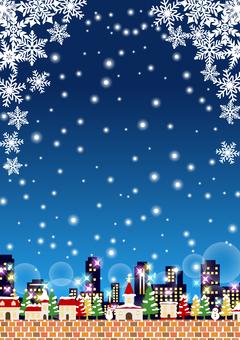 雪聖誕城市背景垂直/夜