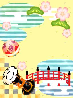 Drum, ball, cherry blossom, pine, vermilion bridge, pond frame