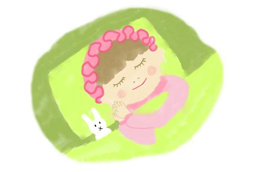 Illustration of a sleeping girl