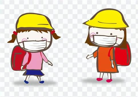 兩個女孩的面具