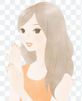 指甲護理圖像(橙色)