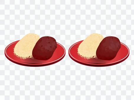 一組年糕,肉醬餅和kinako年糕