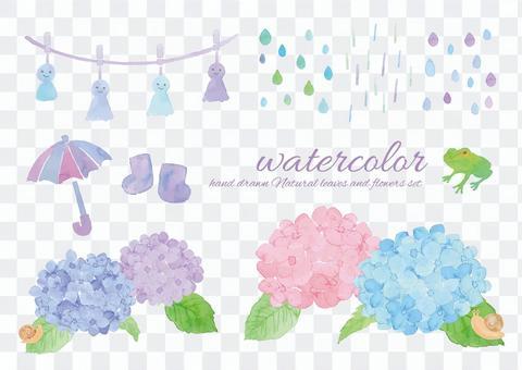 水彩雨季素材
