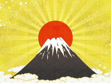 Fuji and sunrise background · gilt background