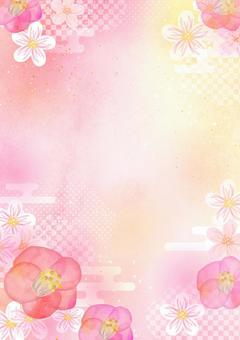 日本模式材料043山茶花水彩背景
