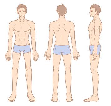男性全身(前/後/側組)