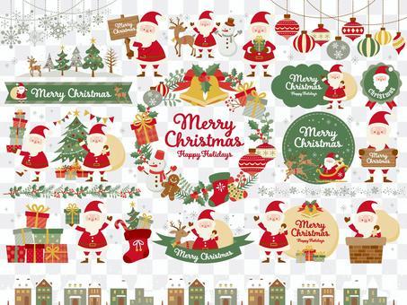 クリスマスの挿絵と色々なサンタ(5c)