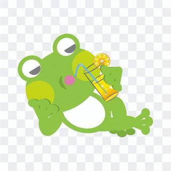 Frog (linger and drink lemonade)