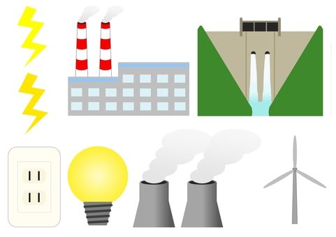 Illustration set of electricity and power generation