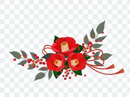 紅山茶花裝飾