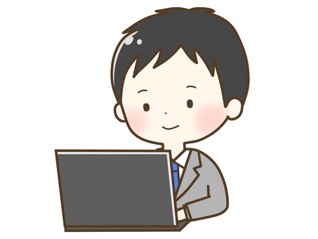 一個穿著西裝玩電腦的男人