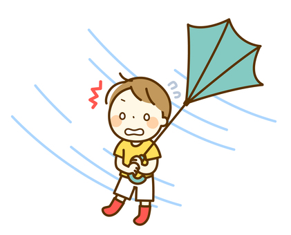 Boy with an umbrella turned over