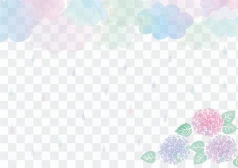 繡球花和雨背景材料