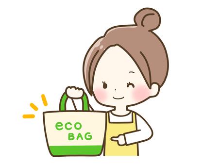에코 가방을 가진 여자