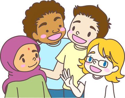 Children who interact internationally