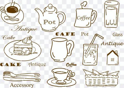 咖啡馆货物手绘复古