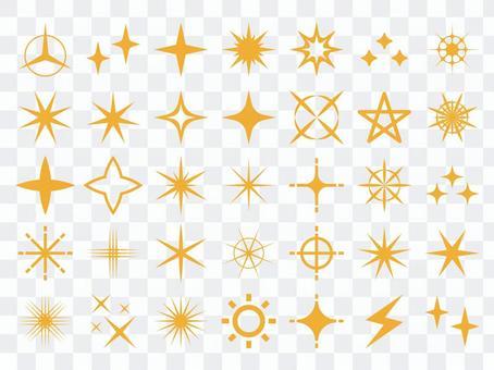 Glitter light icon set