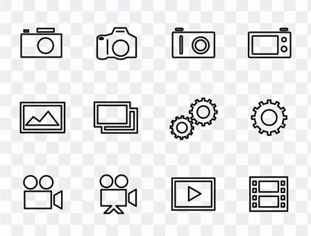 相機,照片,視頻等的圖標集。