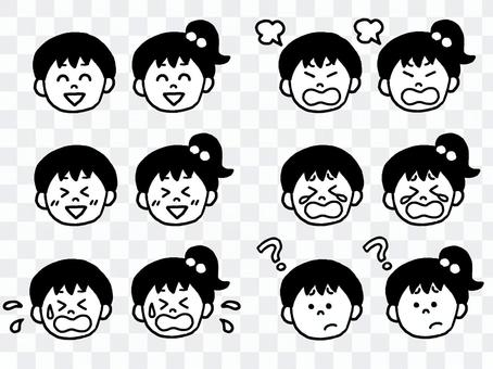 Boys and girls facial expression set (simple)