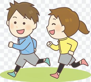 男人和女人慢跑