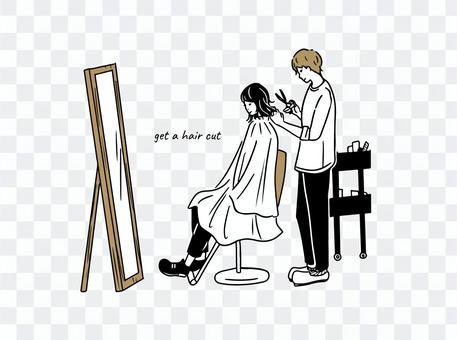 一個女人在一家美容店理髮