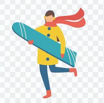單板滑雪的女人
