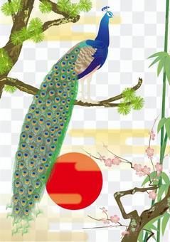 Peacock details _ kimonos pattern shochiku bai _ white ground