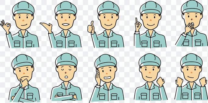 工人/工人的面部表情集