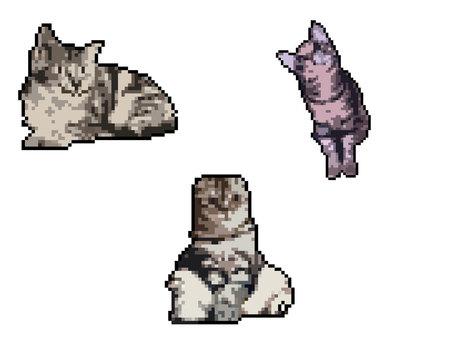 Pixel art cat set