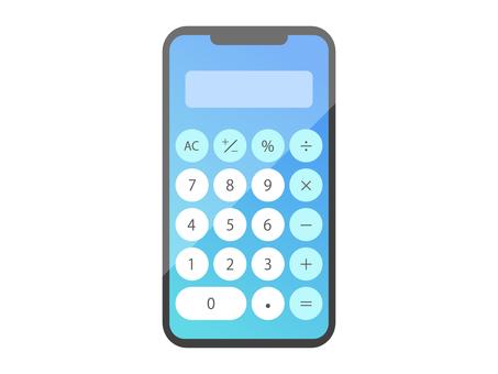 使用計算器功能的智能手機屏幕