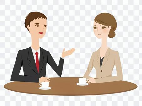 一个男人和一个穿西装的女人说话