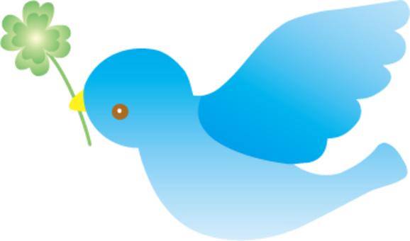 飛行的藍鳥和三葉草