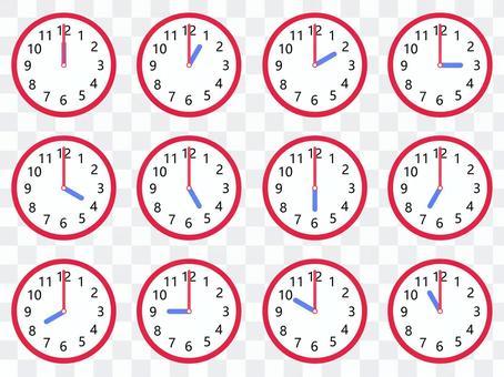 時鐘12點設置為紅色