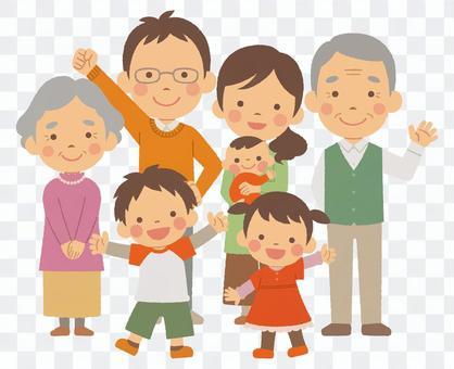 3世代7人家族 全身 秋服