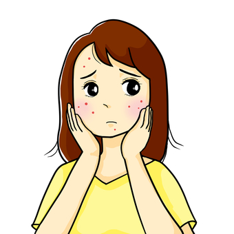 Women suffering from acne, rough skin and pimples