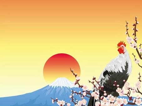 Fuji and plum early spring background · Rooster year 02
