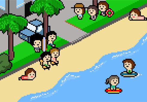 ドット絵背景海海水浴水着サーフィン
